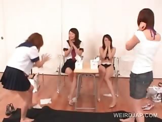 Japanese cute school babes stripping for a sex class