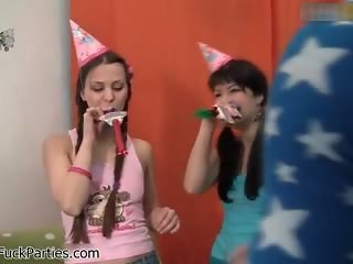Cute teen babes get horny at a party part1