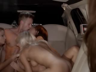 lovely group sex in limo