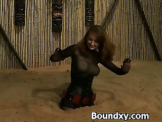 Smothering Dominatrix In PVC Dress Abused