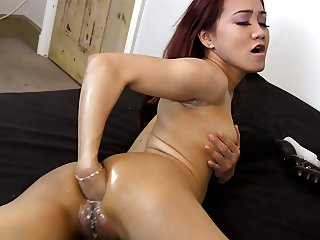 Asian use big dildo (Sasha Star)