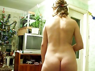 Sexy MILF in red dancing