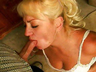 Blonde cocksucking mature whore