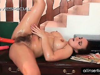 Mature bitch in hairy twat gets ass toyed hard