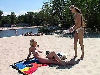 Young amateur at nude beach