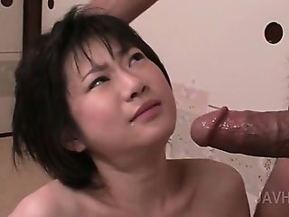 Kinky small titted asian nymph deep throating shaft