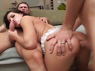 Spanish Nympho Takes Hard Cocks In Both Holes