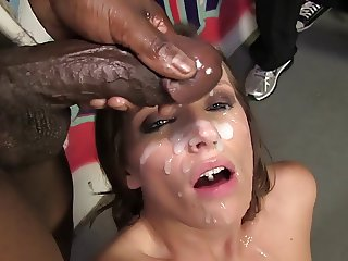Jamie Jackson gets her face covered in cum by BBC