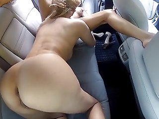 Mature and Teen Lesbian Sex Car Backseat