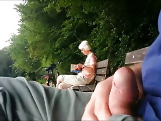 Teaser - Public cumshot for Granny in the park