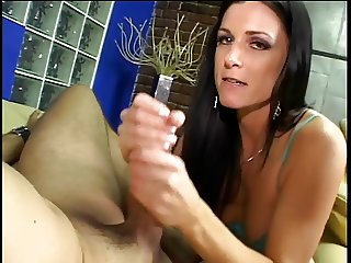 Intense brunette sorority girl loves giving her professor hand jobs after class