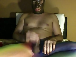 I in pantyhose and red latex condom