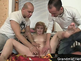 Two delivery men fuck lonely mature woman