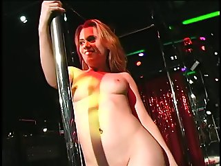 Incredible blonde stripper sucks dick and gets fucked on stage