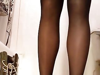 Putting on Black Pantyhose