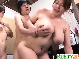 Two Busty MILFs Tag Team His Cock To Get Him Cumming