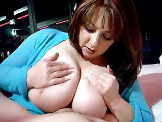Hot Curvy Busty Cougar Smoking Jerk and Titfuck