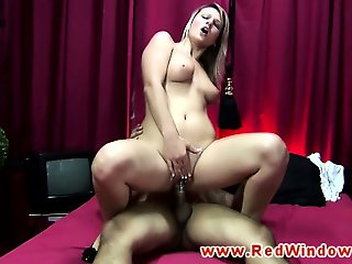 Real blonde hooker rides tourists cock