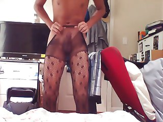 Jerking off in fishnet tights