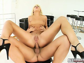 Defrancesca is an adorable blonde with a smoking hot body. She gets fucked in the ass and a big load of cum drips out