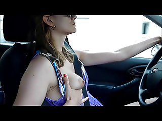 hotty fingering herself while driving