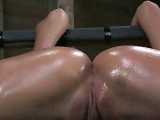 Strapped down spread legs and fucked