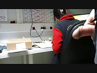FLASHING BIG DICK AT WORK. ON MY COWORKER