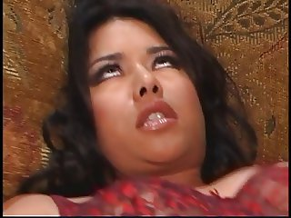 Ravishing young Latin fuck slut welcomes white dick up her crapper on the couch