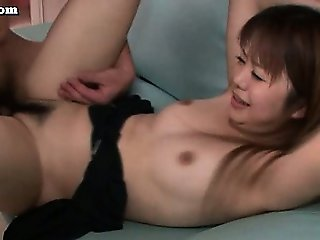 Hairy asian pussy jumps on cock