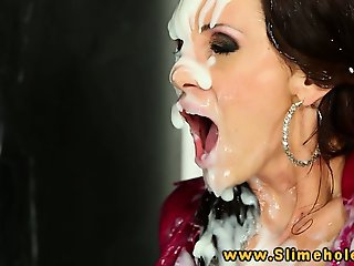 Virus Vellons at gloryhole slimed with bukkake