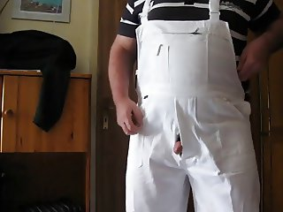 Grandpa wanking in white overall