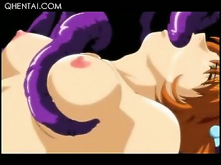 Hentai delicate girl taking monster tentacles deep in mouth
