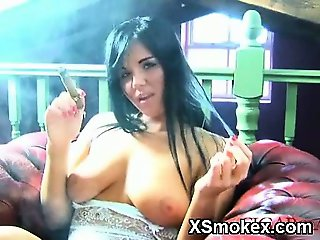 Hottie Smoking Chick Hungry Makeout