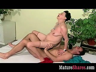 Hairy grandma fucks horny guy