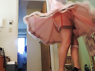 Sissy Ray Twirling in pink sissy dress for Mike