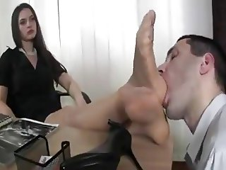 Feet nylon worship in office