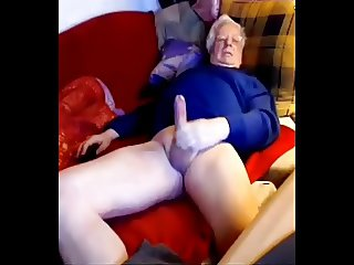 Silver senior euro dad wanks his big cock on cam