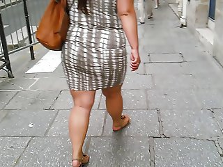BBW sexy fat legs big ass walking in the city