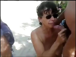 Nude Beach - Multiple Blowjobs Big Nip Mature