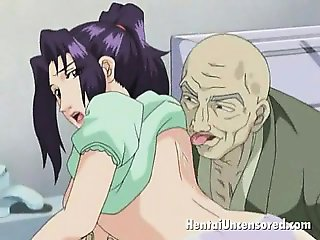 Sweety brunette hentai honey getting succulent pussy licked by a bald dude