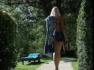 Small tits blonde gets her pussy pounded outdoors