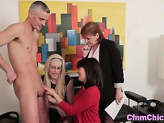 Clothed cfnm femdoms blowjob facial