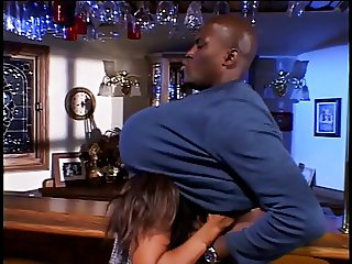 Buff black guy drills sexy ebony with perfect tits next to wet bar
