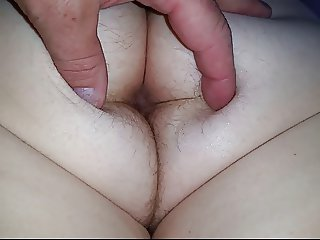 opening wifes white hairy asshole, feeling hairy ass crack.