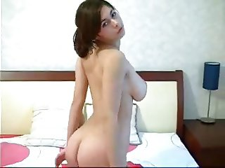 huge natural breasts stripping and caressing