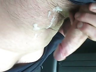 Wank in the car with cum