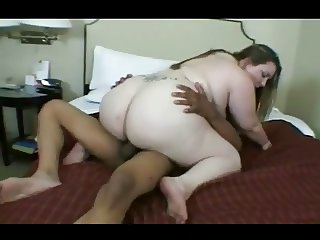 Fat BBW GF love riding her Black Lover with Cum on Tits