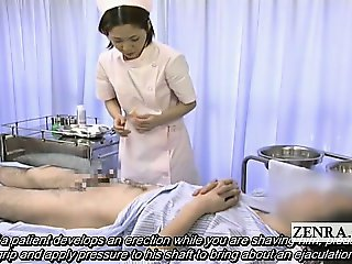 Subtitled medical CFNM handjob cumshot with Japan nurse