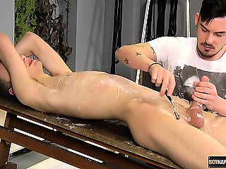 Straight boy Reece experiences the wax torture and cock