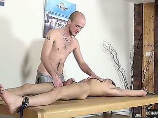 Oli Jay gets pissed on and jerked off, fed cock and covered
